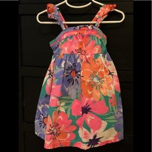 Floral pattern bright girls dress.